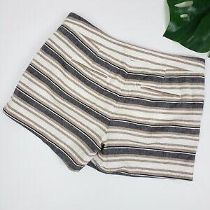 Ann Taylor Petite Sz 8P Devin City Short Linen Blend Striped Pockets Casual