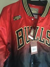 Chicago Bulls 1997 NBA Finals Mitchell And Ness Satin Jacket  Red Black Mens CNY