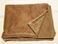 PBK Pottery Barn Kids Baby Blanket Solid Brown Shaggy Faux Fur