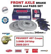 Vorderachse Bremsbeläge+Scheibe Set für Peugeot 407 Coupe 3.0hdi 241bhp