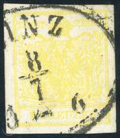 ÖSTERREICH 1854, MiNr. 1 Y a, sauber gestempelt, Befund Goller, Mi. 120,-