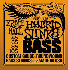 *4-STRING* BASS GUITAR STRINGS 2833 ERNIE BALL HYBRID SLINKY ROUNDWOUND 45-105