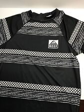 Reef Surfing Shirt Gray & White Pattern L T-Shirt Surf Athletic Moisture Wicking