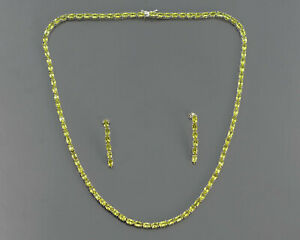 August Birth Natural Peridot Gemstone 925 Solid Silver Tennis Necklace & Earring