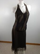 DAVIDS BRIDAL WOMENS BROWN ACETATE 2 PC FORMAL GOWN DRESS SIZE 14 ELEGANT