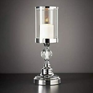 New Silver Chrome Metal & Glass Ring Candle Holder Hurricane Lamp Wedding Table