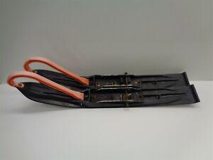 1999 Arctic Cat ZL 500 EFI Black Plastic Skis w Orange Loops Carbides Pair