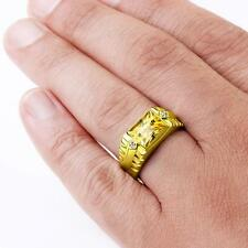Mens Ring Citrine and DIAMOND Accents in 18K Solid Yellow Fine Gold all sizes