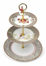 """Pip Studio Porcelain Tiered Cake Stand, Khaki Floral, 14"""" H., Lovely Gift"""