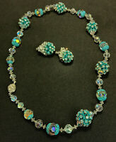 Vintage Vendome Aurora Borealis Crystal Glass Beaded Necklace and Earring Set