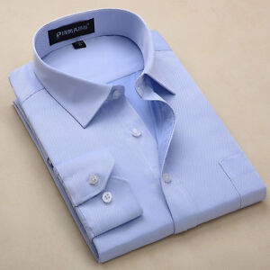 Mens Dress Shirts Long Sleeves  Luxury Slim Fit Button Down Shirt Multicolor Top