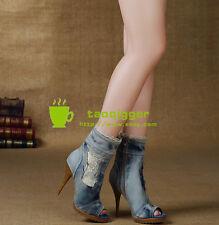 Retro Women Peep Toe Slim Heel Ankle Boots Jeans Denim Roma Sandals Size 9 New