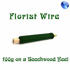 Green Florist Wire on Beechwood Reel Floral Wires Supplies 100g Roll Art Crafts