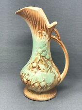 Vintage McCoy Art Pottery Ewer Pitcher Vase Brown Mint Green Grapes & Leaves