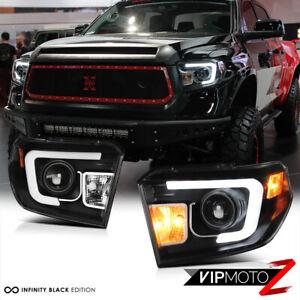 "For 2014-17 Toyota Tundra ""TRD STYLE"" FIBER OPTIC LED Black Projector Headlights"
