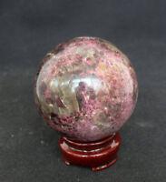 485g NATURAL RARE Rose Tourmaline QUARTZ CRYSTAL Sphere Ball HEALING+STAND