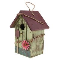 Hand-painted Wooden Birdhouse w/ Jute Cord Home Outdoor Garden Decoration E