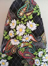 Ironing board cover, handmade, quilted reversible new padded Black White daisy