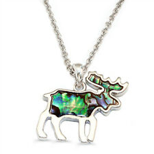 "Moose Charm Pendant Fashionable Necklace - Abalone Paua Shell - 18"" Chain"