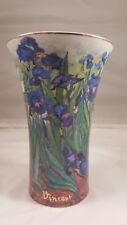 "Goebel Artis Orbis V. Van Gogh Iris Vase 7"" tall Gold rim"