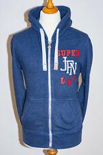 Superdry Mens Vintage Label Full Zip Hooded Sweatshirt Hoodie Blue - Size Medium