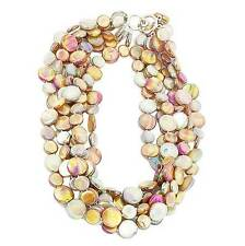 NEW LUSTROUS TAUPE 6 STRANDS OF MOTHER OF PEARL COIN DISC NECKLACE