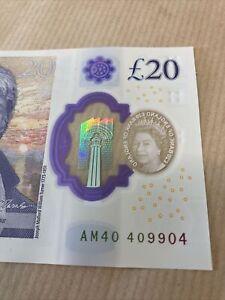 RADAR Number. AM40 409904. £20 RARE UNCIRCULATED £20 Pound Note,