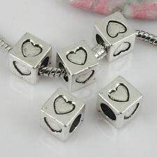 8pcs tibetan silver color square-shaped hearts pattern beads EF0412