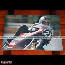 MICHEL ROUGERIE sur sa HARLEY-DAVIDSON N°21 (70's) - Poster Pilote Moto #PM1141