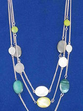 Kenneth Cole New York Urban Sand Lime Green Gray Teal Shell Layer Necklace $48