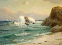 Stunning Oil painting Seascape Cape Mendocino ocean waves & Huge rocks in sunset