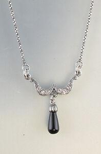 9901220-ds 925er Silber Art-Deco-Collier mit Onyx L42cm