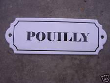 PLAQUE DE CAVE EMAILLEE VIN Pouilly EMAIL VERITABLE 800°C FABR. EN FRANCE NEUVE
