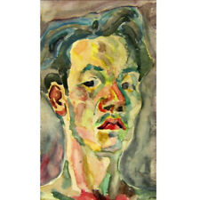 """Self-portrait"" Water color on Paper 1953 Korean Premier Artist Dong-Shin Bae"