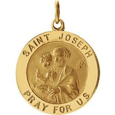 St Joseph Medal 14K Yellow Gold 22mm Medal St. Joseph Jesus Pray for Us R41568