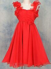 ViNTAGE 60s RED RUFFLE RUCHED CHiFFON HOLiDAY GLaM PiNUP COCKTAiL SWiNG DRESS XS