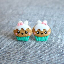 Pascua Bunny regalos para niños primavera Menta Cupcake Muffin Kawaii Aretes Pequeños