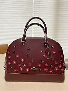 Beautiful Coach Sierra burgundy bag, purse, satchel, w floral appliqués