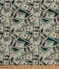 Money 20 and 100 Dollar Bills Cash Currency Green Cotton Fabric By Yard D571.13