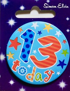 Small Birthday metal badge with safety pin, ages 13-21, teenager, brand new