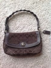 COACH SIGNATURE FLAP PURSE BAG AUTHENTIC BRAIDED STRAP BROWN