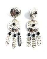 Native American Sterling Silver Navajo Black Onyx Feather Dangle Earrings