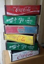 Coca Cola Retro Vintage Fruit Crate Wooden Storage box Drinks Tray 7up Pepsi