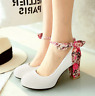 Womens Ankle Strap Mary Janes Round Toe Floral Block Party High Heel Shoes Size