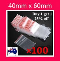 100 X Small 40x60mm 4x6cm Ziplock Zip Lock Resealable Plastic Bag Jewellery Coin