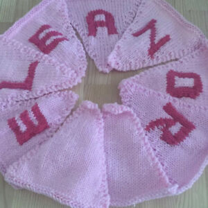 """Handmade Personalised Knitted Bunting """"ELEANOR"""" Gift Baby Toddler"""