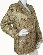 Badgley Mischka Gold Lace Sequin Evening Blazer with Rhinestone Buttons, Sz 10