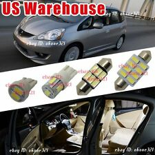 10-pc Pure White LED Lights Interior Package inside Kit For 09-14 Honda Fit Jazz