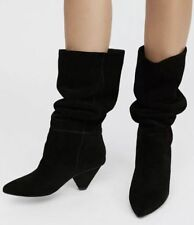 Jeffrey Campbell Wos tall Boots SENITA US 8 Black Suede Pull On Heels T11