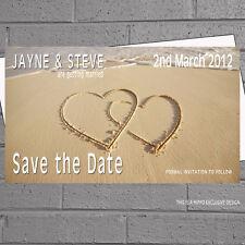 Save The Date Tarjetas de Boda con Sobres X 20 dos corazones en la playa de arena H0293